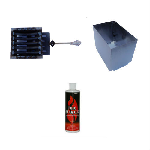 hopper extension, deluxe firepot, and fire gel accessories for a wood pellet patio heater